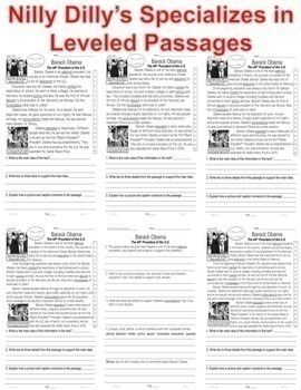 Reading Comprehension LEVELED PASSAGES: 30 BIOGRAPHIES Main Idea Fluency TDQs