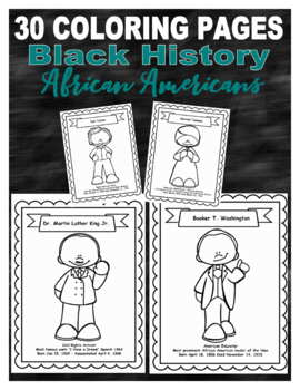 30 Black History Biographies Coloring Pages African Americans Tpt