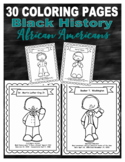 30 Black History biographies coloring pages African Americans