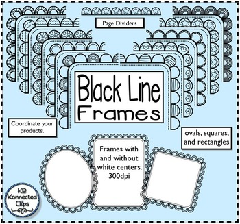 30 Black Line Frames with Page Dividers