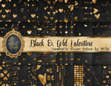 30 Black and Gold Valentine Love Heart Digital Papers Card Making