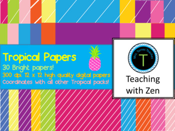 30 Bright and Tropical papers- Stripes and solids in 10 different colors