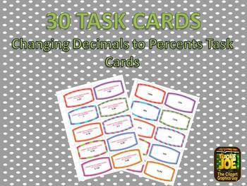 30 Changing Decimals to Percents Task Cards