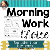 Morning Work Choice Boards and Planner/Journal