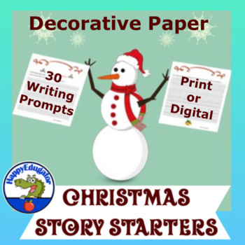 Christmas Writing Prompts on Lined Paper