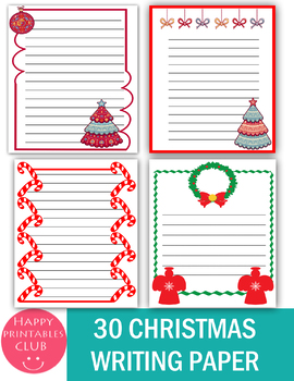 30 Christmas Writing Papers- Christmas Stationary- Holiday Writing Papers