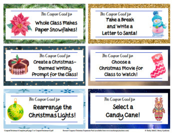 30 Christmas-themed Reward Coupons for Positive Classroom Management!