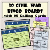 30 Civil War Bingo Boards with 95 Detailed Calling Cards