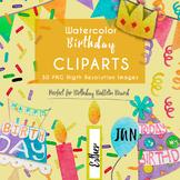 30 Clipart Watercolor Birthday Bulletin Board Printable Ha
