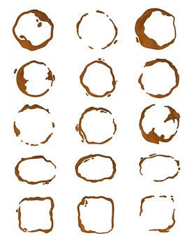 30 Coffee Stains | Watercolor + Black | Ring, Spill, Spots | Vector Clipart