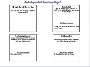 Text Dependent Questions: Post-It Notes, Laminate {BUNDLE}