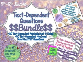 Text Dependent Questions: Post-It Notes, Laminate {BUNDLE}