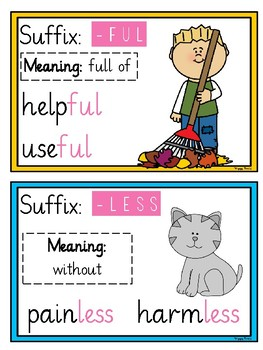 30 Common Suffixes Poster Cards (English, Spellings, SPaG)