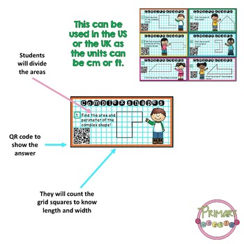 30 Complex Shapes Areas Task Cards With QR Codes