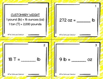 30 Customary Measurement Conversions Task Cards: Length, Weight, Capacity w/Keys