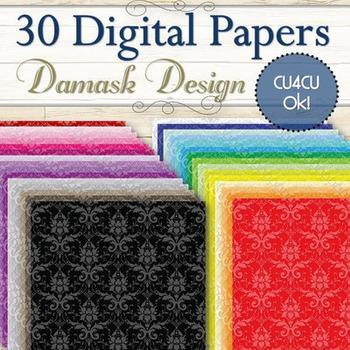 30 Damask Digital Papers (Cu and Cu4cu OK) - INSTANT DOWNLOAD