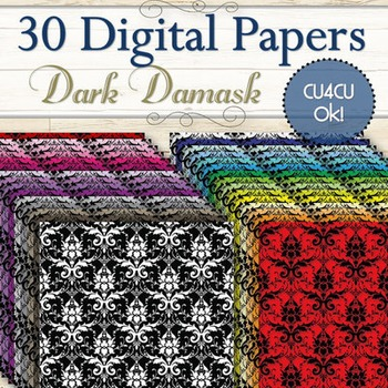 30 Dark Damask Digital Papers (Cu and Cu4cu OK) - INSTANT DOWNLOAD