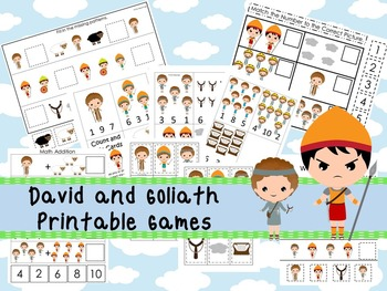30 David and Goliath themed Printable Games and Activities. Christian preschool.