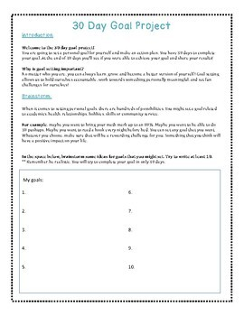 30 Day Goal Setting Project: Fostering a Growth Mindset in Your Classroom