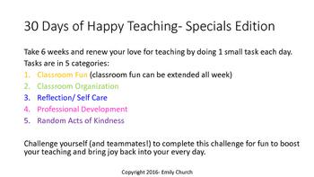 30 Day Happy Teacher Challenge- Specials Edition