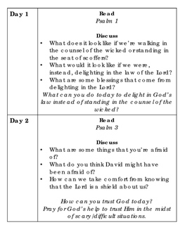 30 Days in the Psalms:  Short Devotions for Teens and Adults
