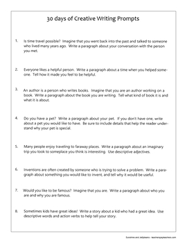 30 Days of Creative Writing Prompts - No-Prep Activity - Grades 3, 4, 5