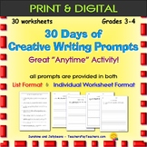 30 Days of Creative Writing Prompts - No-Prep Activity - G
