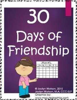 30 Days of Friendship: Social Skills/Character Building Tasks