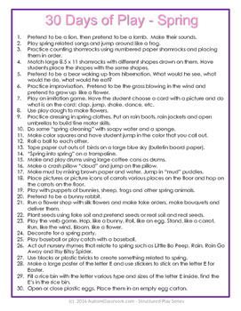 Special Education 30 Days of Play for Children with Autism (Structured Play)