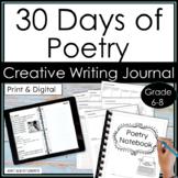 30 Days of Poetry Digital Creative Writing Activities Notebook