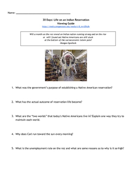 30 Days on an Indian Reservation Viewing Guide - Absolutely True Diary of...