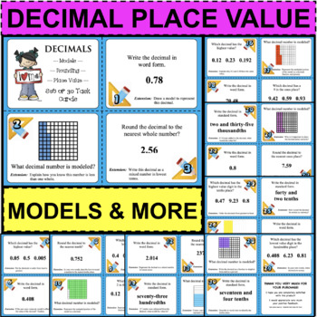 30 Decimals Task Cards with DIFFERENTIATED Extensions for each! Place Value