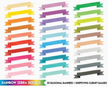 30 Diagonal Banners - Clipart / Digital Download 300ppi png files