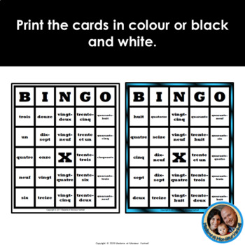 30 Different Double-Sided Pre-Made French BINGO Cards 1 to 50 - Words & Numbers