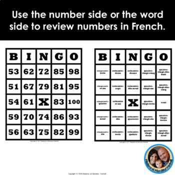 30 Different Double-Sided Pre-Made French BINGO Cards 51 to 100 -Words & Numbers