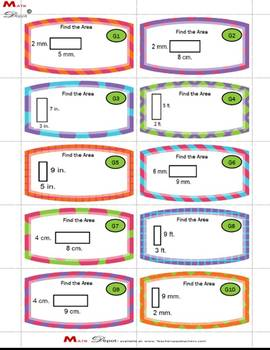 30 - Differentiated Area of Rectangles Task Cards