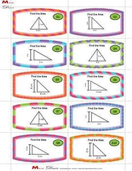 30- Differentiated Area of Triangles Task Cards