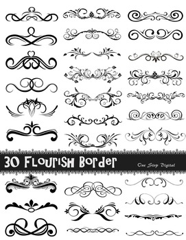 30 Digital Flourish Swirls Frame Border Ornate Border Clip Art Digital