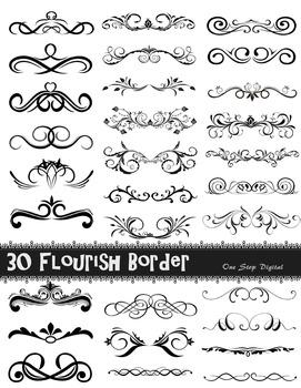 30 Digital Flourish Swirls Frame Border Ornate Border Clip
