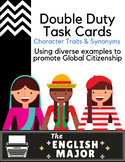 30 Double Duty Task Cards for Character Traits & Synonyms