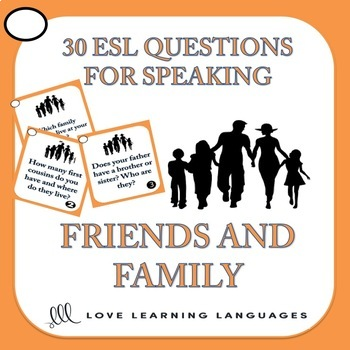 30 ESL conversation starters and speaking prompts -Family and Friends Vocabulary