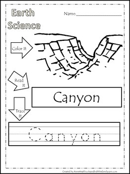 30 Earth Science printable  worksheets. Color, Read, Trace Land Formations.