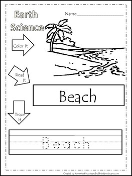 30 Earth Science printable  worksheets. Color, Read, Trace