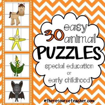 30 Easy Animal Puzzles (for special education or early childhood)