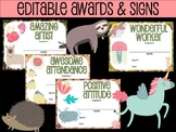 30 Editable AWARDS and SIGNS : Charming Animals, End of Ye
