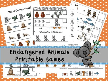 30 Endangered Animals Games Download. Games and Activities in PDF files.