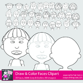 30 Faces Clipart for Drawing & Coloring - Outline Heads, BW & Gray for Tracing