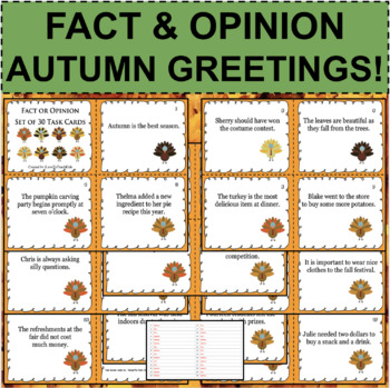 30 Fact or Opinion Task Cards Turkey Fall Themed Language Arts Activity Review