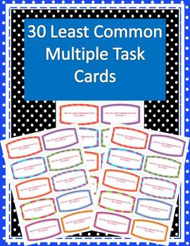 30 Finding Least Common Multiple Task Cards