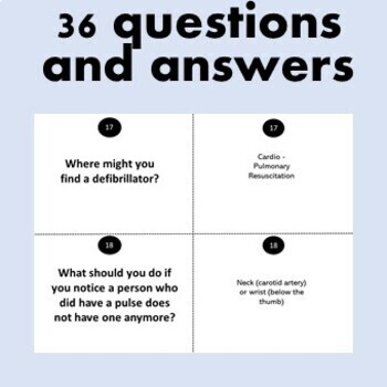 30 First Aid Emergency CPR Quiz Question Cards - Printable with Answers